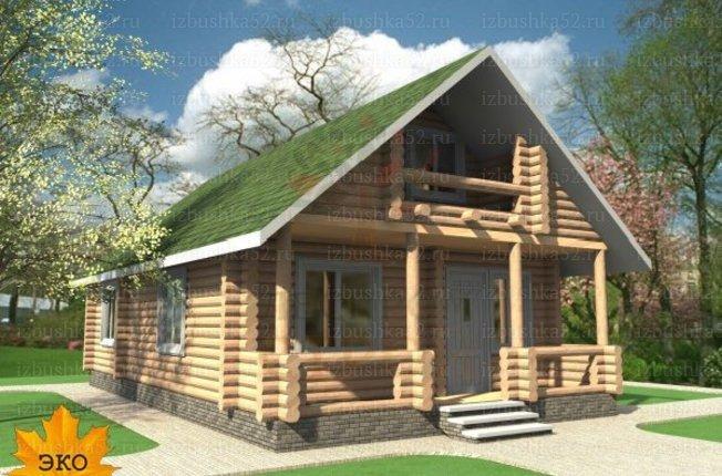 Дом из оцилиндрованного бревна солнеЧный площадью 110 кв. м..